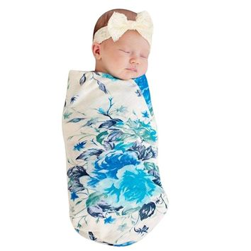 2 Pc Newborn Infant Floral Flower Swaddle with Headband