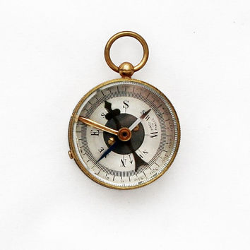 1930s French Houlliot Compass / Vintage Brass Compass