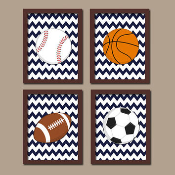 SPORTS Wall Art Boy Artwork Nursery Kid Child Balls Soccer Football Baseball Basketball Chevron Pattern Set of 4 Prints Baby Bedroom Decor