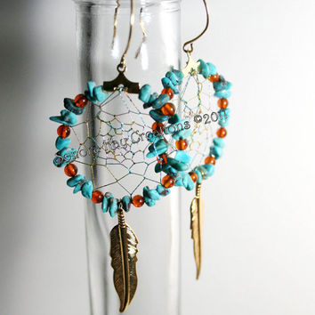 Turquoise and Amber Dream Catcher Earrings on Gold Plated Hoops Made to Order