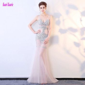 Brilliant Transparent Mermaid Prom Dress Long 2017 Sexy Party Evening Gowns V-Neck Tulle Crystal Zipper Formal Prom Dresses New