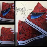 Custom Painted Converse Style Spiderman and Venom Shoes