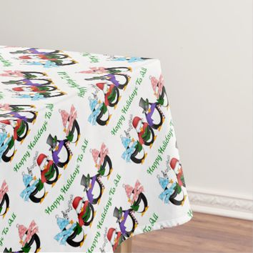 Singing Penguins Happy Holidays Tablecloth