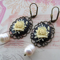 Cameo earrings, vintage style earrings, bronze filigree earrings, dangle earrings, flower earrings, baroque pearl earrings, italian jewelry