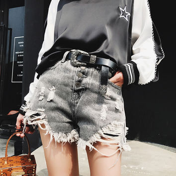 All-match Fashion Irregular Ripped Worn Tassel Edge More Buckle High Waist Denim Shorts Hot Pants Jeans