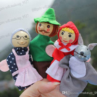 little red riding hood finger puppets a set of 4 plush wooden doll mother tell baby story