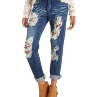 Med Wash Denim Destroyed Boyfriend Jeans by Charlotte Russe