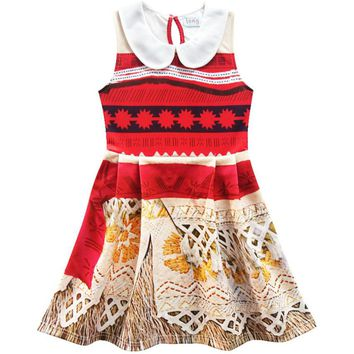 Cute Maui Hooks Summer Girls Dress Cartoon Moana Kids Princess Tattoo Clothes Children Vaiana Party Birthday Costume for 2-10Y