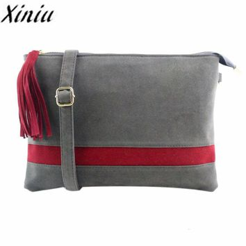 Xiniu Handbags Women Stripe Hit Patchwork bag Womens messenger bags Small Tassel chains cross body Bags