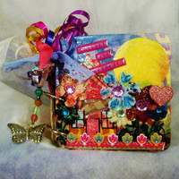 4x4 Inch Small Art Book, Heavily Embellished, Mixed Media/Collage, Perfect Gift for Her, OOAK, Any Age, 7 Double Sided Pages, Colorful