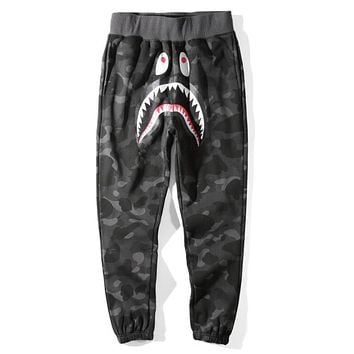 Bape Aape Shark Popular Women Men Leisure Camouflage Print Sport Pants Trousers(5-Color) Grey