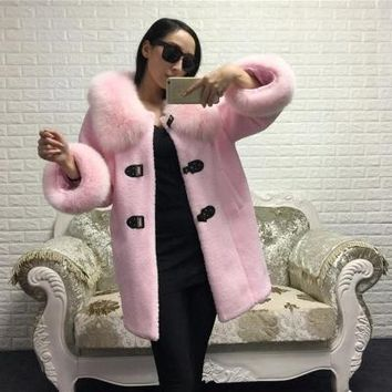 high quality 100% real fox fur collar pockets pink black  long wool woolen jacket 2016 new autumn winter coat women