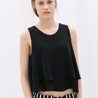 Double Layer Sleeveless Chiffon Top