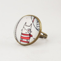 Kawaii Kitty Cat Pirate Ring Cute Adjustable Art by cellsdividing