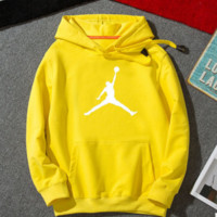 """Air Jordan"" Fashion Casual Unisex Solid Color Loose Cartoon Letter Pattern Print  Round Neck Long Sleeve Couple T-shirt Hooded Plus Cashmere Sweater"