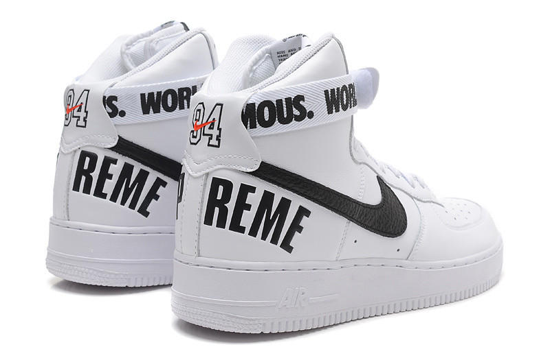 NIKE Women Men Running Sport Casual Shoes Sneakers Air force High tops 94  White black fe95962b5540