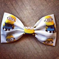 Despicable Me Minion print handmade fabric bow tie or hair bow