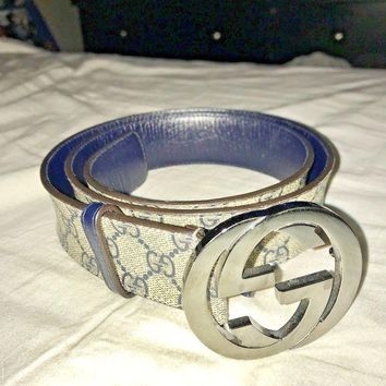 ICIKIN2 Mens Gucci Belt Size 34 (Silver Buckle / Tan Monogram / Navy Leather)