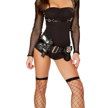 Black Sheer Sleeve Policewoman Costume