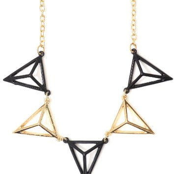 Cage Pyramid Stations Collar Necklace Black Gold Tone Geometric Triangles Statement NN04 Fashion Jewelry