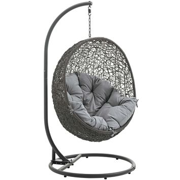 Hide Outdoor Patio Swing Chair With Stand Gray EEI-2273-GRY-GRY