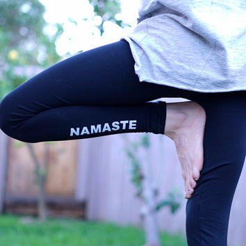 Yoga Leggings - Namaste Leggings - Yoga Pants - Yoga - Yoga Legging - Yoga Leggins - Women's Yoga Leggings - Black Yoga Leggings