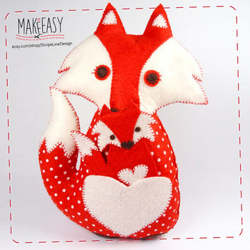 Felt Fox and fox baby - Felt pattern and Tutorial - DIY - Making pattern PDF - Plushie Instructions