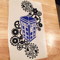 Tardis steampunk decal ( Dr Who )