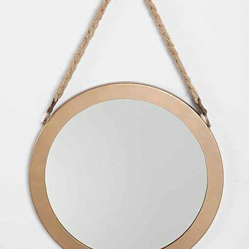 4040 Locust Round Wall Mirror- Brown One
