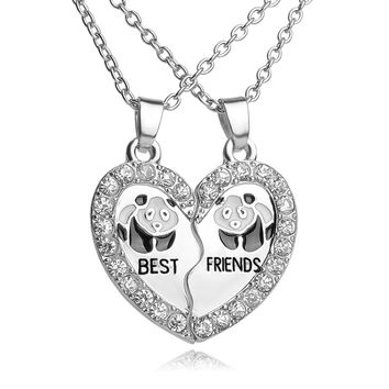BEST FRIENDS Necklace BFF 2 Part Broken Heart Pendant Animal Panda Anchors Crystal Pendant Chain Necklace Friendship Jewelry-Christmas gifts