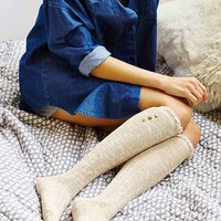 Crochet Button Cuff Knee-High Sock