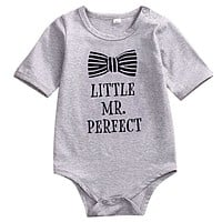 Newborn Baby Romper Infant Baby Boy Gray Jumpsuit Outfits Cotton Clothes