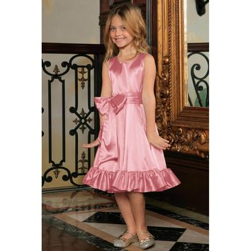 Dusty Pink Fit & Flare Summer Party Midi Princess Dress Flower Girl