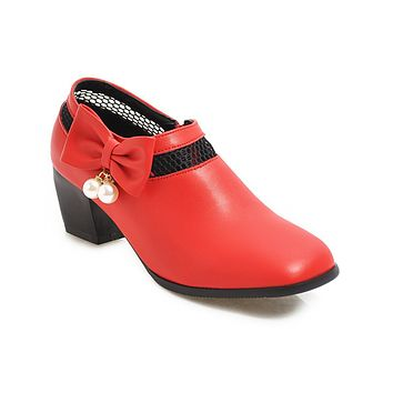 Women Rough Mid Heels with Bow Knots