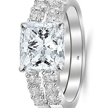 .14K White Gold 1.51 CTW Princess Cut Classic Prong Set Bridal Set With Wedding Band and Diamond Engagement Ring, F-G Color VS1-VS2 Clarity, 0.5 Ct Center