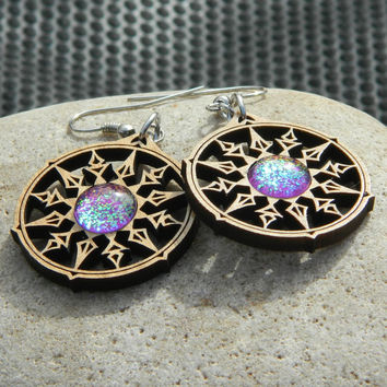 Bound Star Earrings - Rainbow Love Glass Gems - Laser Cut Alder Wood and Glass Jewelry - Color Shifting
