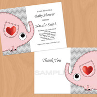 Girl Baby Shower Invitation Elephant Baby Shower Invitation Baby Girl Shower Invitation Baby Shower Invite Pink (A1) - Free Thank You Card