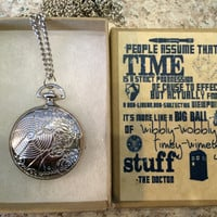 Doctor Who 10TH Doctor Pocket Watch LOCKET NECKLACE in handmade gift box Dr Who2