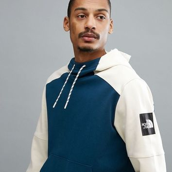 The North Face Fine 2 Box Hoodie In Blue/Off White at asos.com