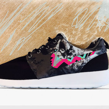 Womens Custom Nike Roshe Run sneakers, triangles, black, teal, tribal trendy design, Magenta and lime, Tie-Die NEW nike roshe. Limited stock