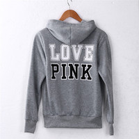 Love Pink Women Fashion Sweatshirt  Long Sleeve Hooded Tops Coat Hoody Pullover Tops Sweatshirt Jumper Coat Street wear