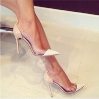 New Sexy Brand fashion See-through pointed toe shoes thin heels high-heeled Pumps shoes Height 11 cm 109