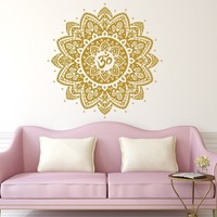 Om Wall Decal Mandala Vinyl Sticker Decals Lotus Flower Home Decor Boho Bohemian Bedroom Ornament Moroccan Pattern Namaste Yoga Studio x281