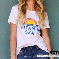 Rainbow VITAMIN SEA Cartoon Print T-Shirt