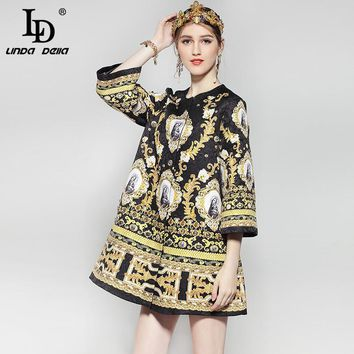 High Quality Winter Women Coats 3/4 Sleeve Noble crystal Beading Printed Vintage Jackets Fashion Coat Outerwear Warm