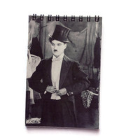CHARLIE CHAPLIN reworked note book Free UK Postage great gift for retro movie fan