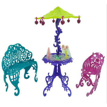 1 Set Amusement Bar Couch Chairs Table Dessert Sun Umbrella Dolls House Furniture For Monster High For Barbie Doll Accessories