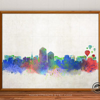 Albuquerque Skyline Watercolor Poster, New Mexico Print, Cityscape, City Painting, States, Illustration Art Paint, Giclee Wall, Home Decor