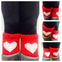 Red Heart Knitted Leg Warmer, Knit boot toppers, Grey boot cuffs,Women leg warmers,Heart boot socks