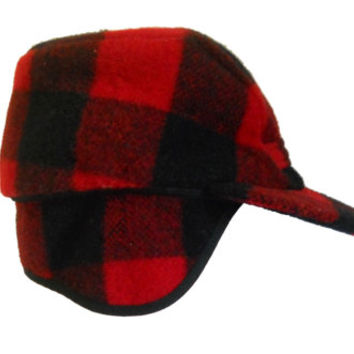 Winter Hat Men Winter Cap Ear Flap Hat Flat Brim Hat Hunting Hat Elmer Fudd  Hat Lumberjacket Hat Lumbersexual Red Flannel Hat Red Plaid Hat 8b4b735049f